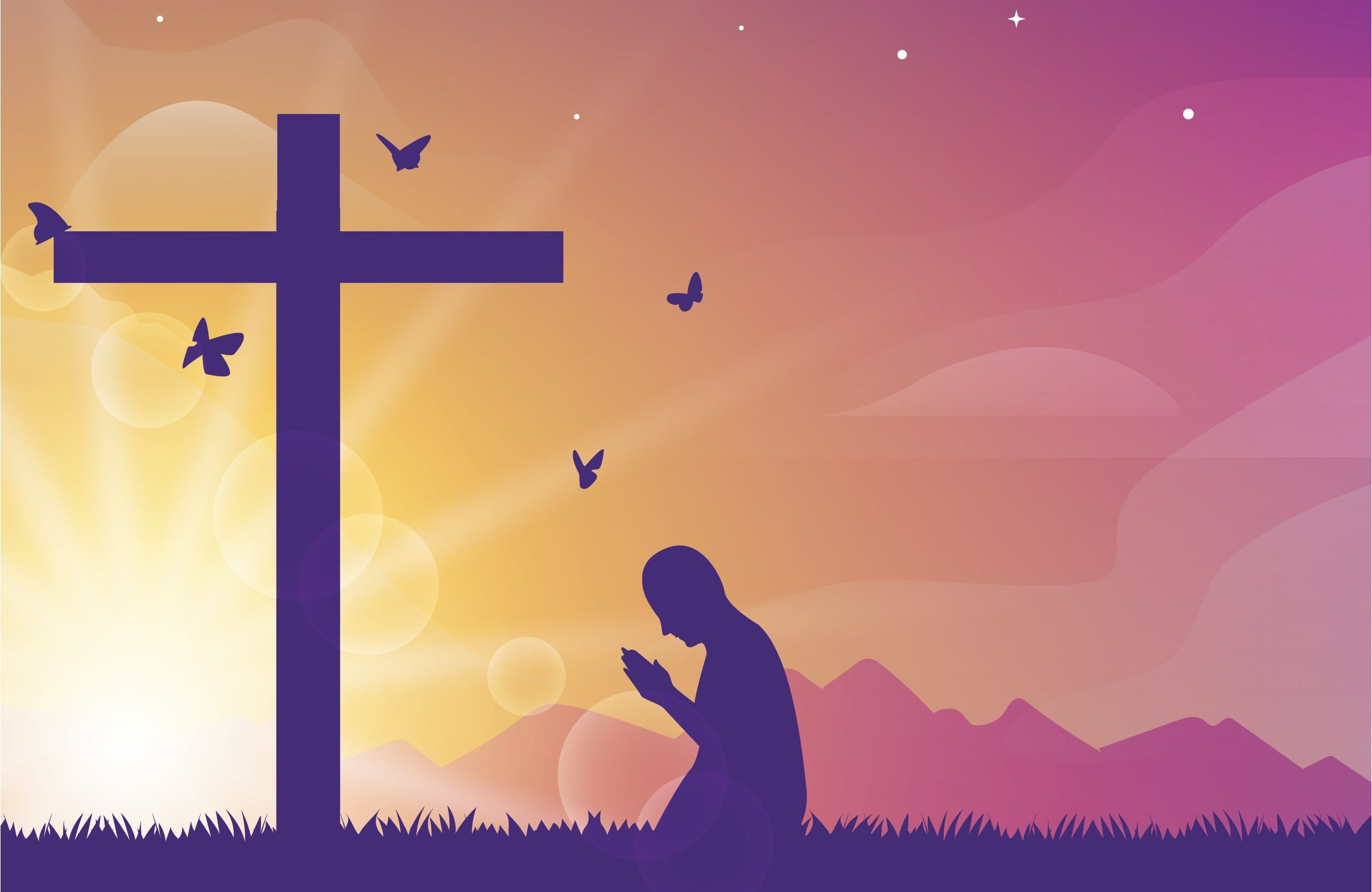 Man by a cross kneeling down and praying